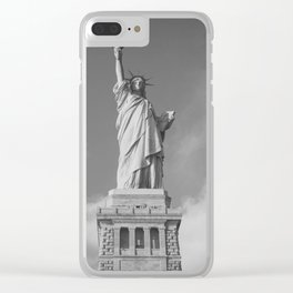 Black and white Statue of Liberty - Liberty Island, NYC Clear iPhone Case