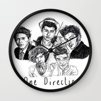 one direction Wall Clocks featuring One Direction by Hollie B
