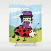 ladybug Shower Curtains featuring Ladybug by flydesign