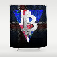 iceland Shower Curtains featuring bitcoin Iceland by seb mcnulty