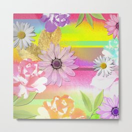 Colorful Watercolor Abstract Stripes & Flowers Metal Print