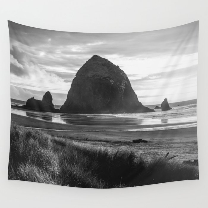 Cannon Beach Sunset - Black and White Nature Photography Wall Tapestry