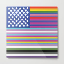 LGBTAQ+ American Flag Metal Print