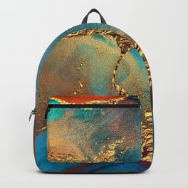 Abstract Blue And Gold Autumn Marble Backpack