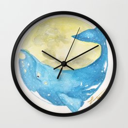 Moon Right Whale Wall Clock