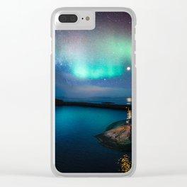 Aurora Borealis Over Coastal Waters Clear iPhone Case