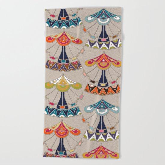 carousel damask Beach Towel