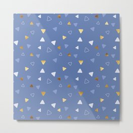 Multi Triangles - Indigo Metal Print