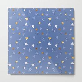 Multi Triangles - Indigo Metal Print