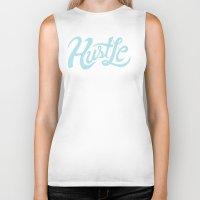 hustle Biker Tanks featuring Hustle While You Wait by Chris Piascik
