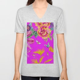 Bold Summer Print on Magenta Pink Unisex V-Neck