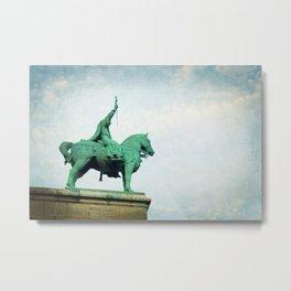 Statue on Mont Marte Metal Print