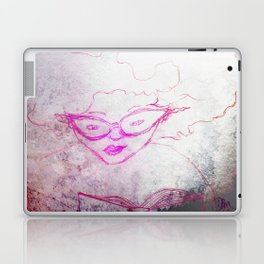 sketch of a girl with funky hair and horn-rimmed glasses reading adventure novel Laptop & iPad Skin