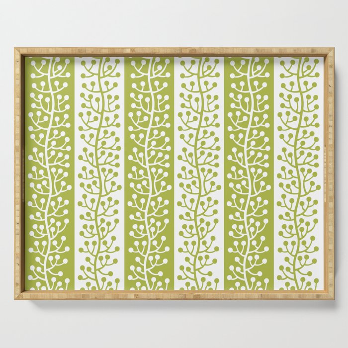 Mid Century Modern Berry Vine Stripes Chartreuse Serving Tray