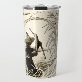 Sugar Cane Worker Cutting Canes Pencil Hand Drawing Vintage Style  Travel Mug
