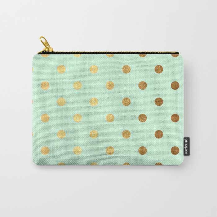 Gold polka dots on mint background - Luxury greenery pantone pattern Carry-All Pouch