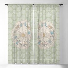 Vintage Astrology Zodiac Wheel Green Sheer Curtain
