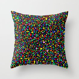 Various colored geometric shapes on a black background Throw Pillow