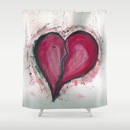 Cracked & Splattered Heart Shower Curtain