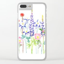 Wildflower art, watercolor painting Clear iPhone Case