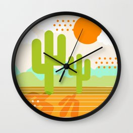 Blazin' - retro vibes southwest socal desert minimal 70s colors throwback 1970's art Wall Clock