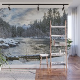 Morning on the McKenzie River Between Snowfalls Wall Mural