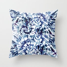 Blue Dye and Tie Throw Pillow