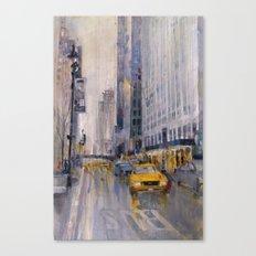 Hey Taxi - New York City Midtown Rain  Watercolors Canvas Print