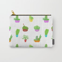 A Collection of Potted Cacti and Succulents Carry-All Pouch