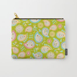 Hedgehog Paisley_Colors and Green Carry-All Pouch