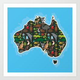 map of Australia. Wombat Echidna Platypus Emu Tasmanian devil Cockatoo kangaroo dingo octopus fish Art Print