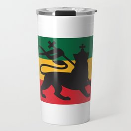 rastafarian flag with the lion of judah (reggae background) Travel Mug