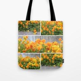Orange Pansies Collage Tote Bag