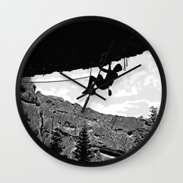Rock Climber in Steep Cave Black and White Wall Clock