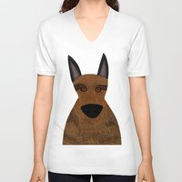 german shepherd V-neck T-shirts featuring Dog - German Shepherd 2 by Verene Krydsby