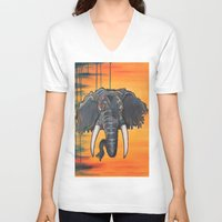 dumbo V-neck T-shirts featuring Not so Dumbo (Elephant) by Kai Monster