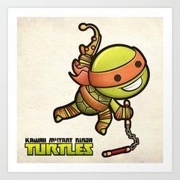 Michelangelo - Kawaii Mutant Ninja Turtles Art Print
