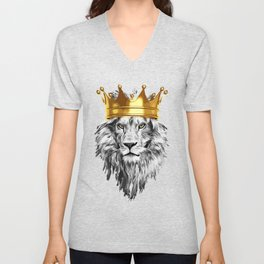 lion with a crown power king Unisex V-Neck