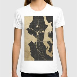 Seattle Black and Gold Map T-shirt