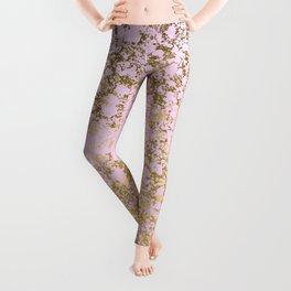 Pale Pink and Gold Patina Design Leggings