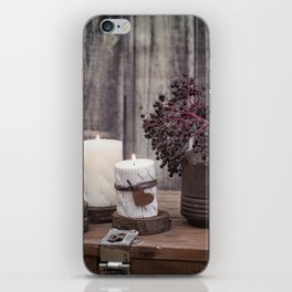 Autumn Still Life with berries and candles iPhone Skin