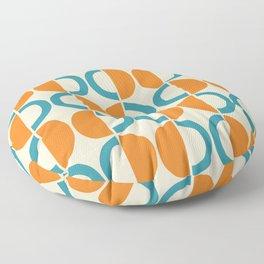 Mid Century Modern Half Circle Pattern 528 Beige Orange and Turquoise Floor Pillow
