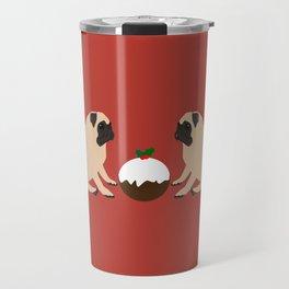 Christmas Pudding and Pugs Travel Mug