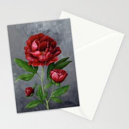 Red Peony Flower Painting Stationery Cards