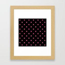 Yummy Hot Pink Dot Pattern on Black Framed Art Print