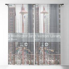 State and Van Buren Harold Washington Library Stop - Chicago El Sheer Curtain