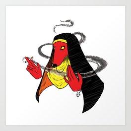Edgy Nun Dog Art Print