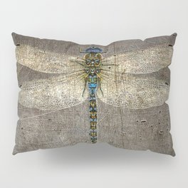 Dragonfly On Distressed Metallic Grey Background Pillow Sham