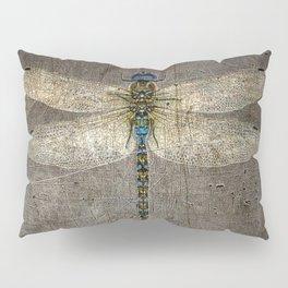 Dragonfly On Distressed Metallic Grey Background Pillow Sham
