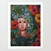 chakra Art Prints featuring Chakra Sadhna by Harsh Malik